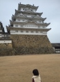 姫路城と雨とめ